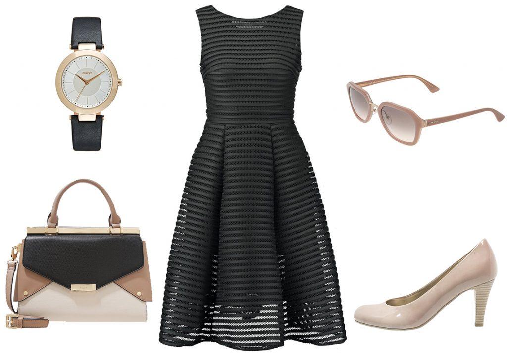 Czarna sukienka rozkloszowana w wersji biznesowej (materiały: zalando.pl)