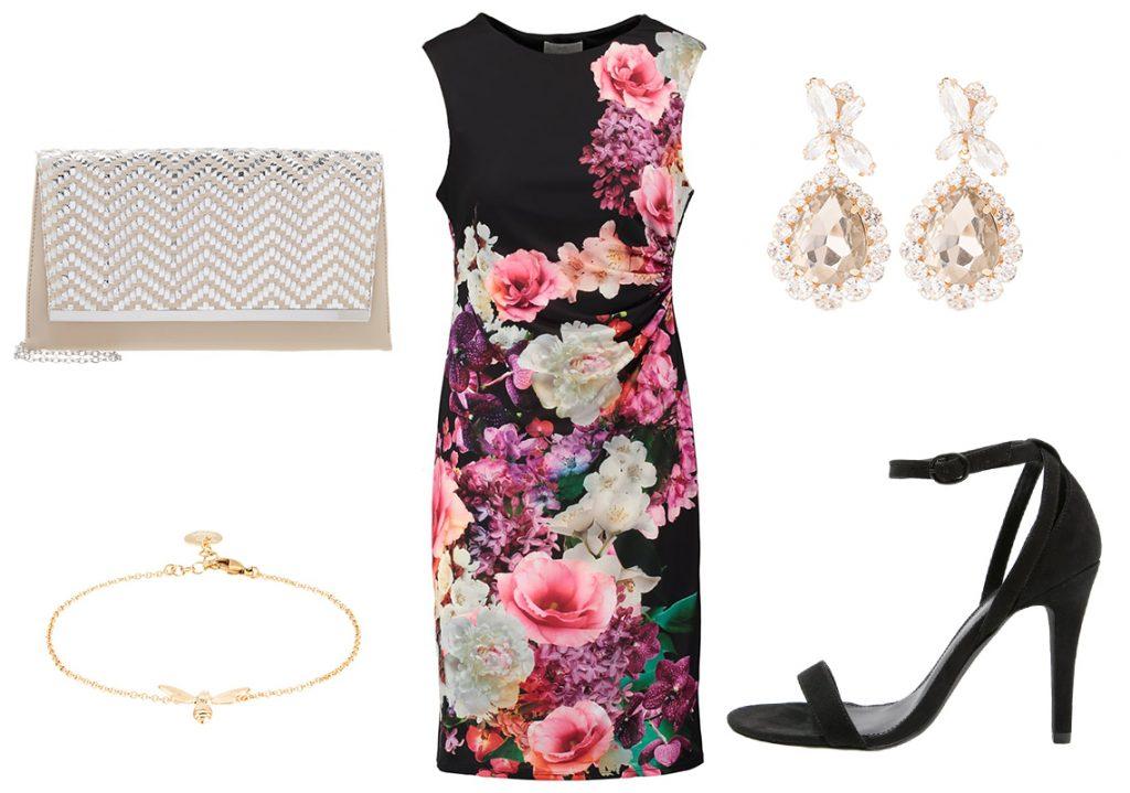 Czarna sukienka w kwiaty (materiały: zalando.pl)