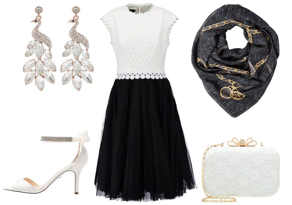 Czarna sukienka z tiulem (materiały: zalando.pl)