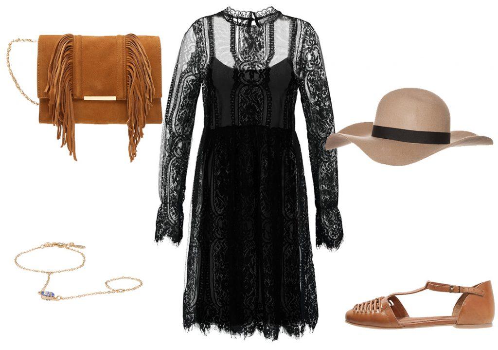 Czarna sukienka koronkowa w wersji boho (materiały: zalando.pl)