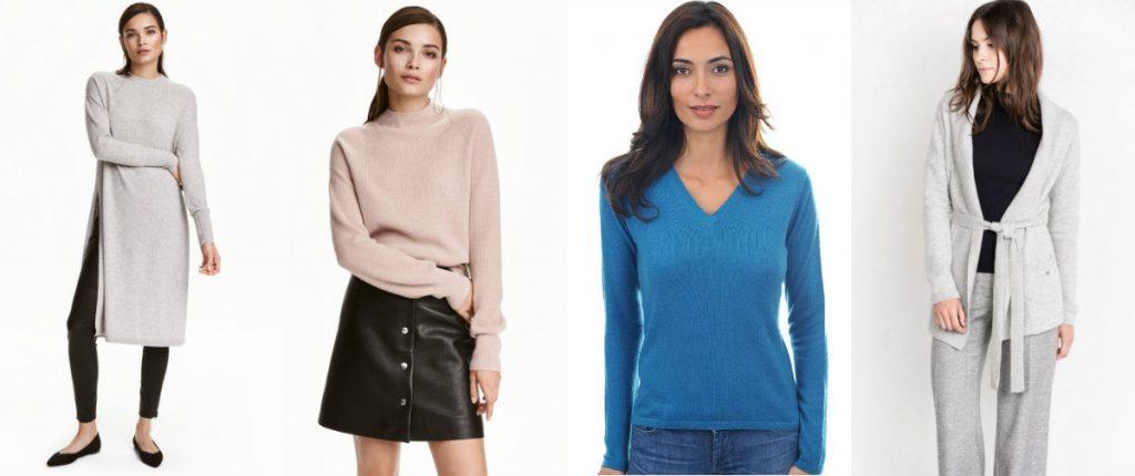 Kaszmirowy sweter, od lewej: dwa modele z H&M, sweter Emma (mahogany.pl) oraz kardigan Patrizia Aryton