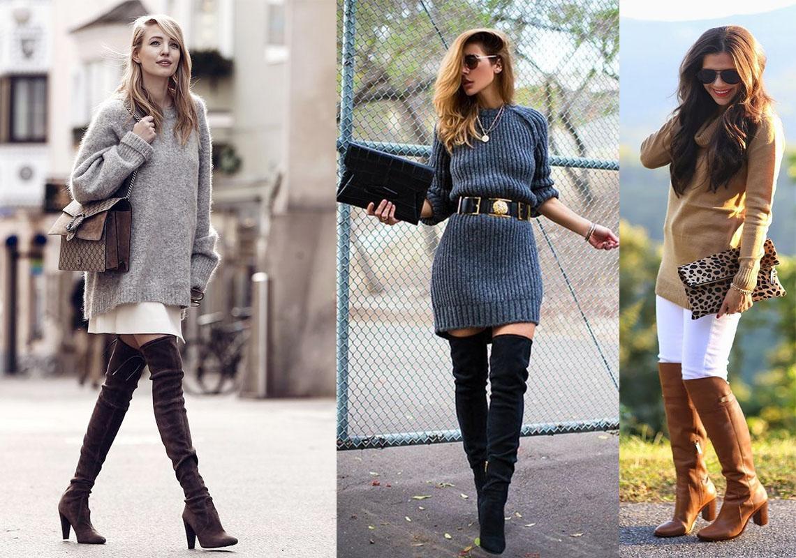 Stylizacje z kozakami za kolano znalezione w sieci (od lewej: justthedesign.com, lookastic.com oraz cyndispivey.com)