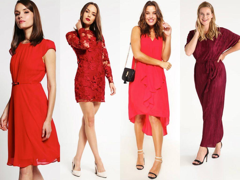 Czerwone sukienki na wesele od lewej: Dorothy Perkins Petite, Topshop Petite (obie dla niskich) oraz Evans (dwie dla puszystych)