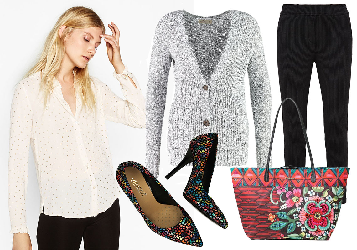 Sweter Hollister Co., spodnie Opus, buty Venezia, torebka Desigual, koszula Zara