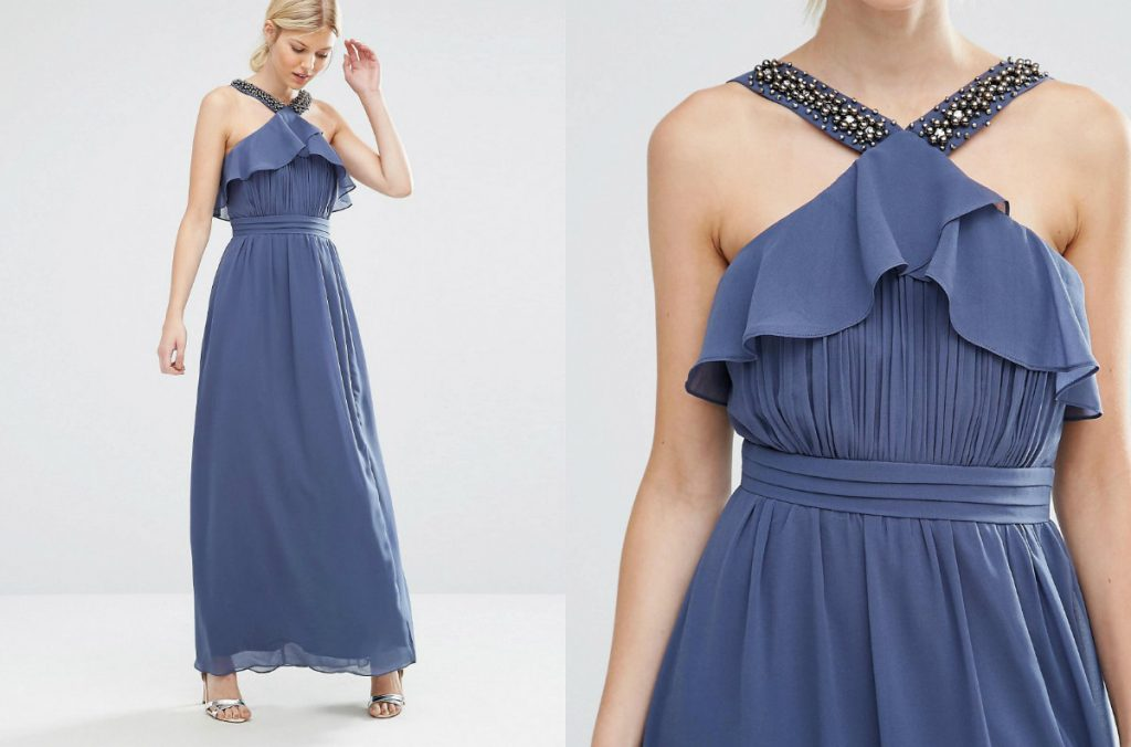 Little Mistress Petite High Neck Ruffle Detail Maxi Dress (asos.com)