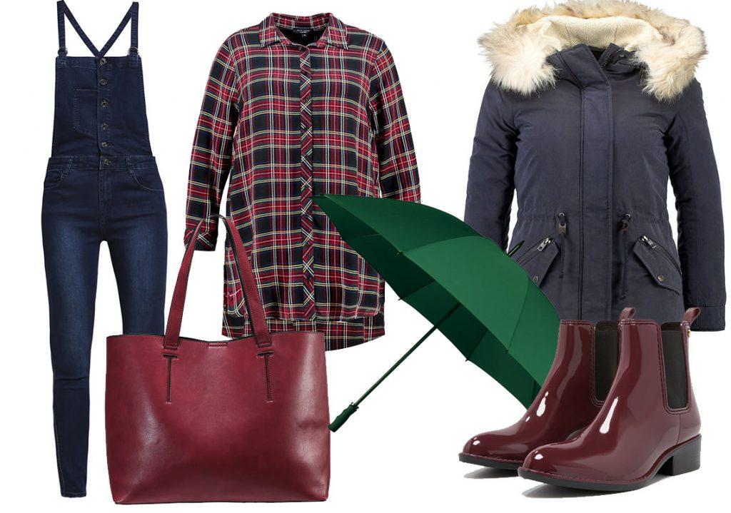 Kalosze sztyblety stylizacje: kalosze Gioseppo, ogrodniczki Jennyfer, kurtka Only, koszula New Look, torba Even&Odd, parasol parasolki.net