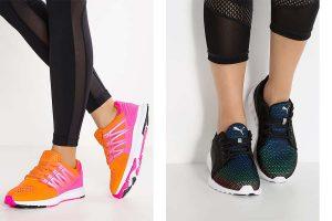 Buty sportowe damskie wyprzedaż po lewej: Even & Odd, po prawej: Puma (fot. zalando)