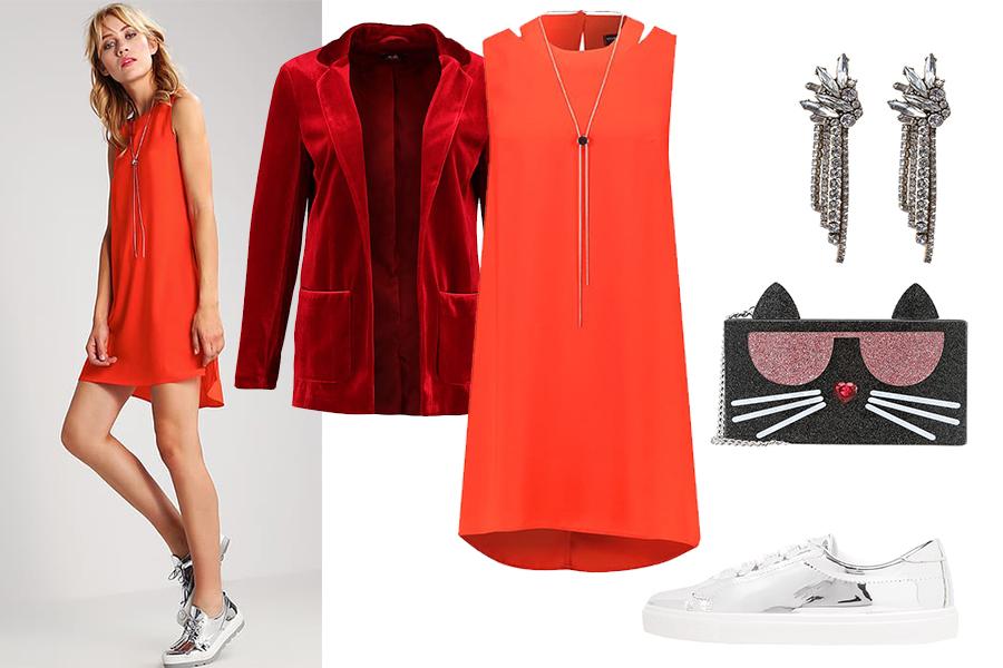 Sukienka i trampki stylizacja (fot. zalando)