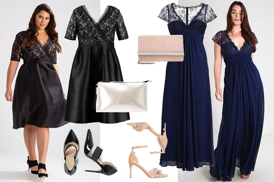 Sukienki wieczorowe dla puszystych - przykładowe stylizacje (fot. zalando.pl)