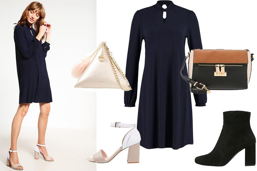 Jakie buty do granatowej sukienki - stylizacje (fot. zalando.pl)