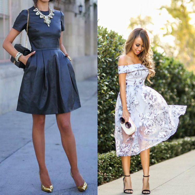 Długa czy krótka sukienka na wesele? (zdj. stylizeliving.com, laceandlocks.com)