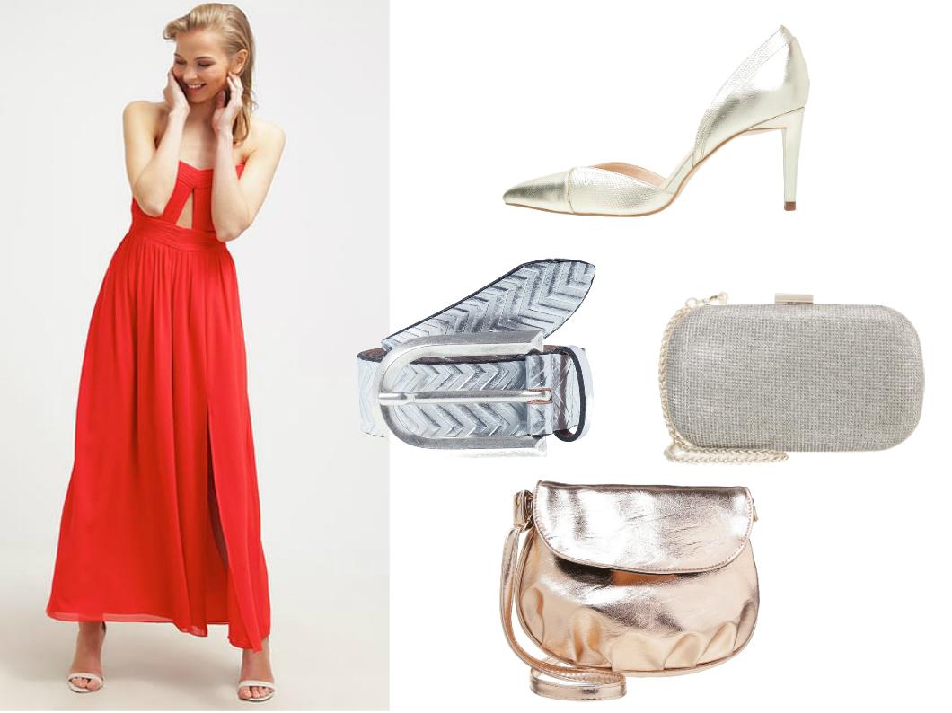 973b7e78f7e1b złote i srebrne dodatki do czerwonej sukienki