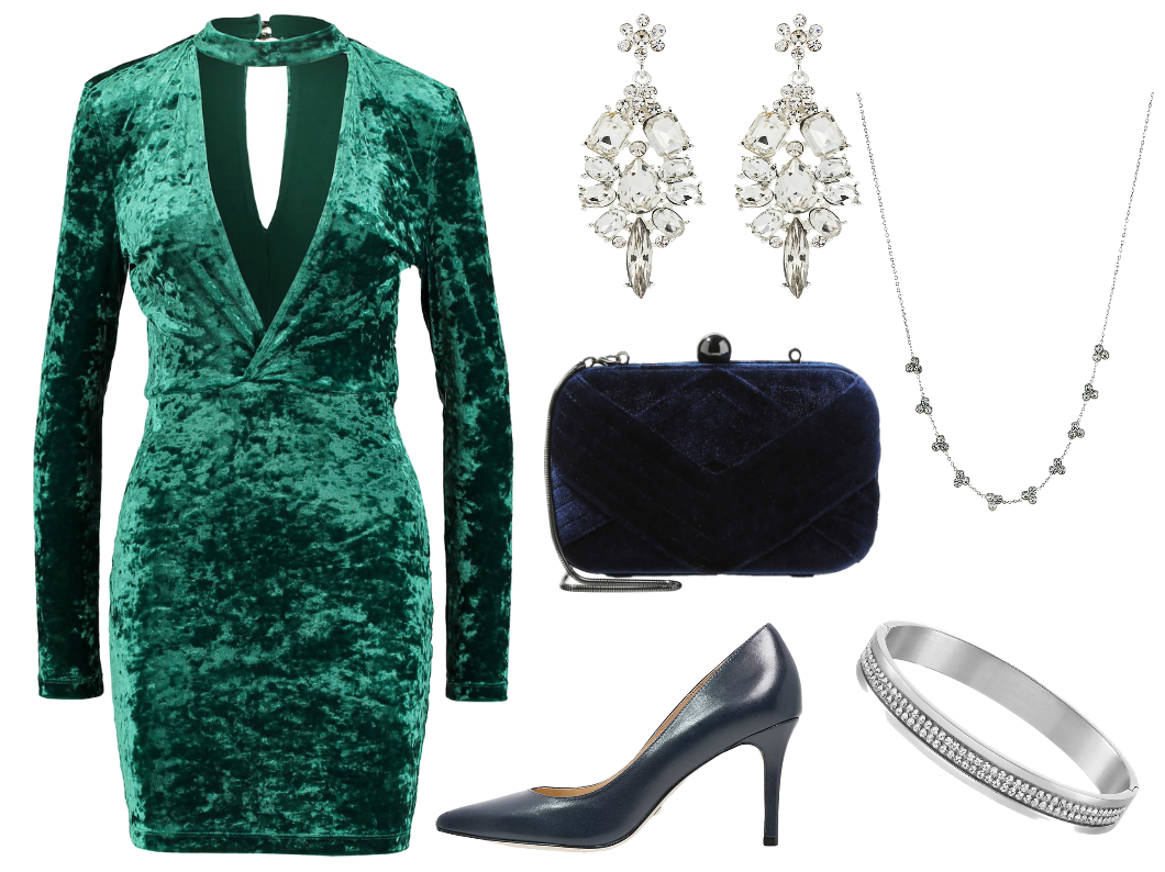 aksamitna sukienka stylizacja