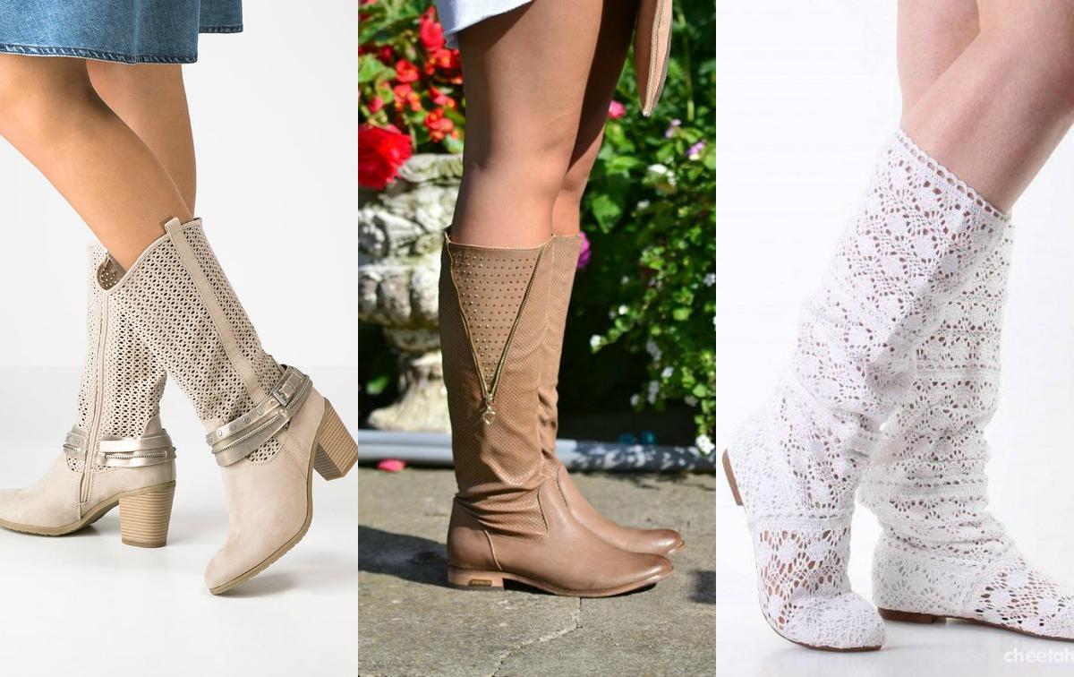 ażurowe buty kozaki