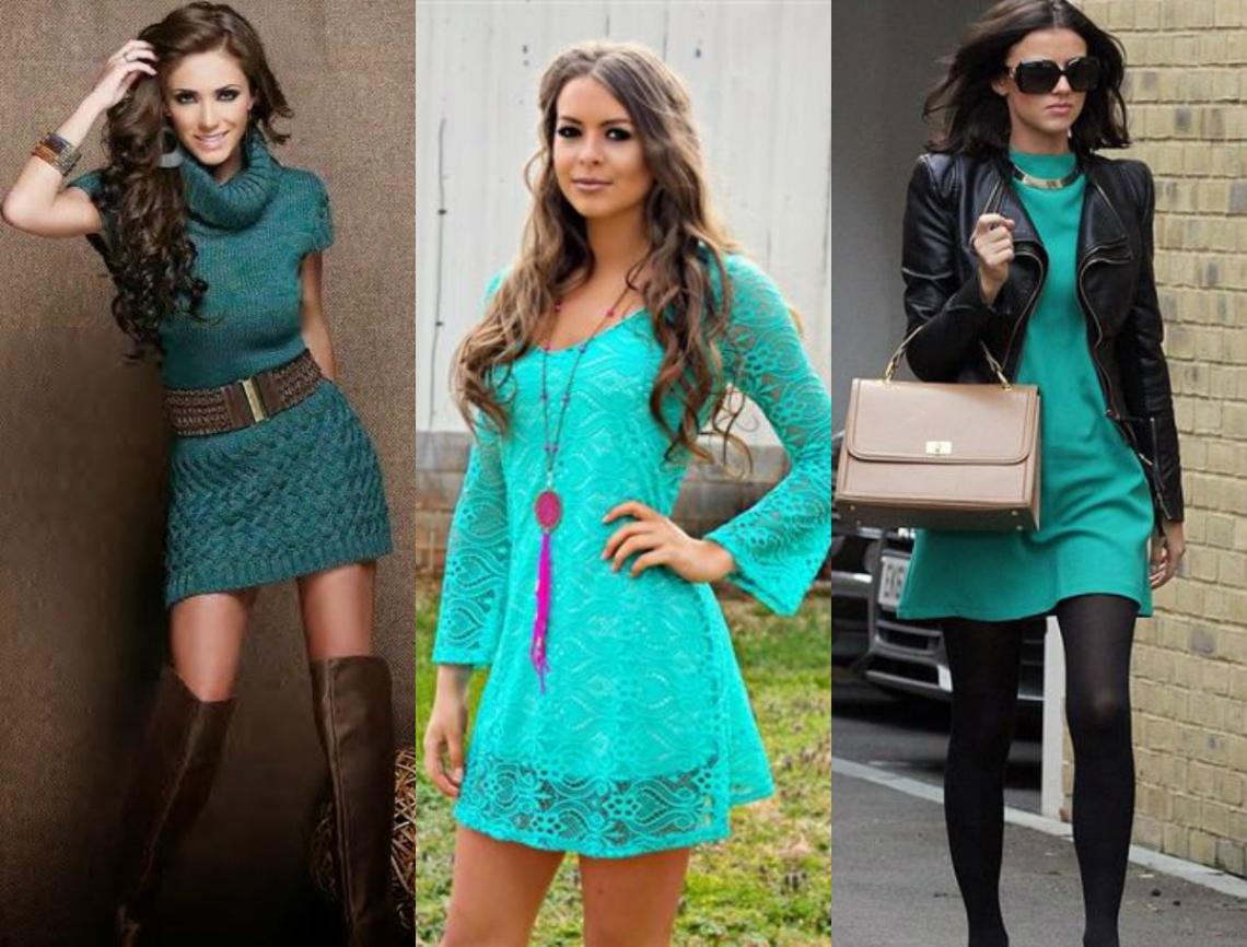 turkusowa sukienka stylizacje