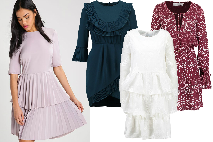 modne falbany sukienki