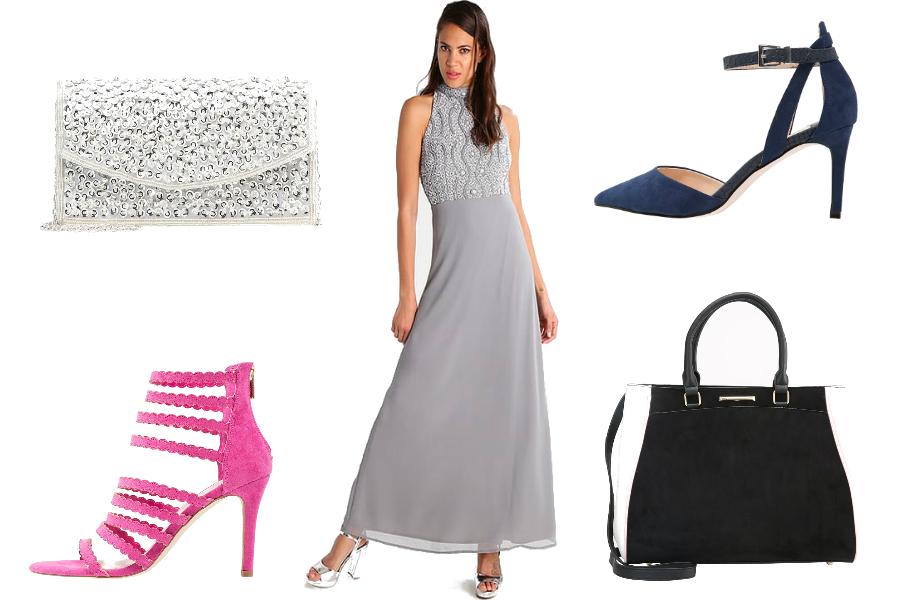 szara sukienka dodatki eleganckie