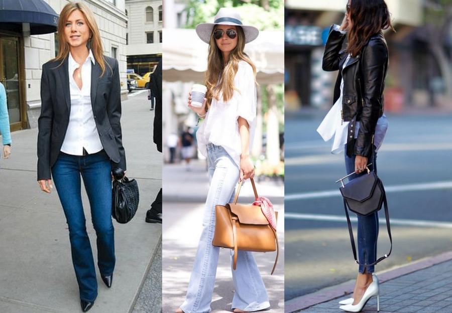 biała koszula i jeansy 3 sposoby