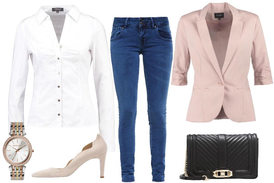 biała koszula i jeansy stylizacja