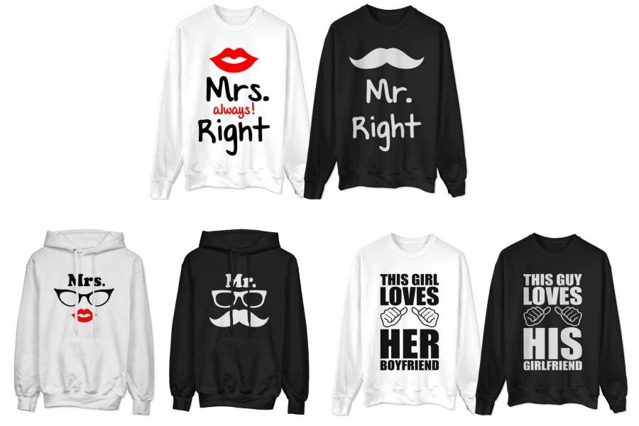 Bluzy dla par zakochanych z napisami