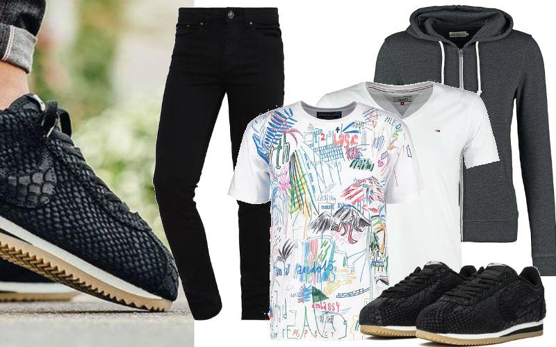 stylizacje męskie ze sneakersami nike cortez