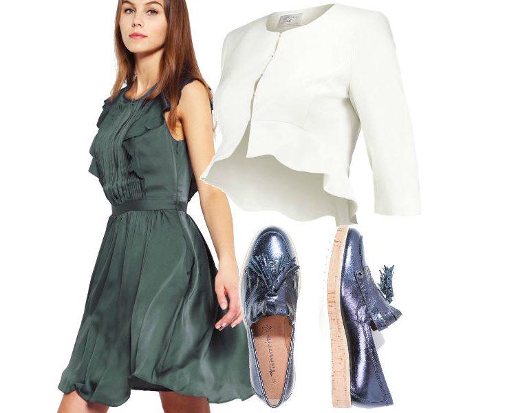 fot. materiały partnera, kolaż Modatu/ sukienki z falbanami do pracy