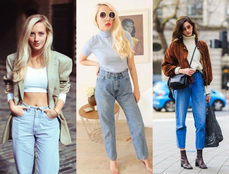 lata 80 moda mom jeans