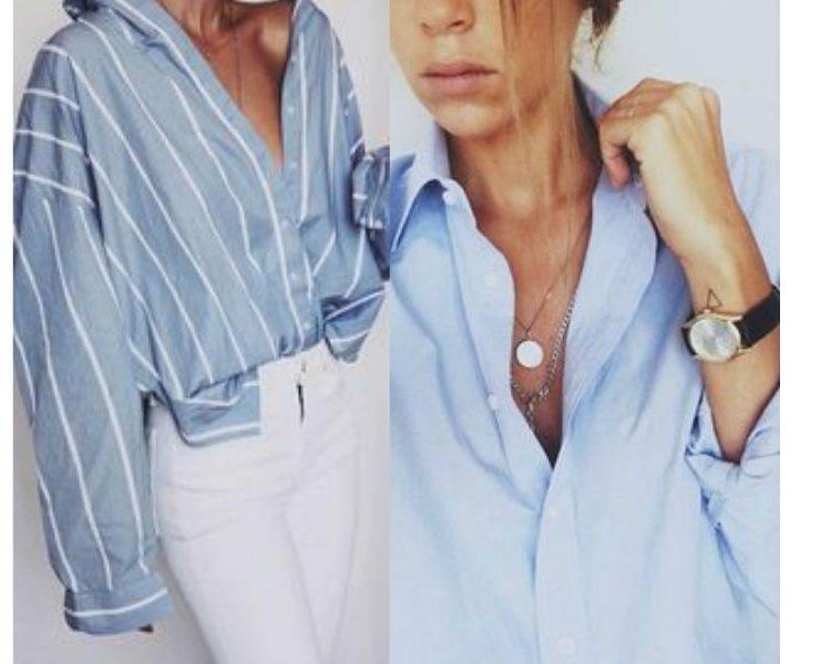 fot. autor nieznany, kolaż Modatu/ niebieska koszula na wiosnę