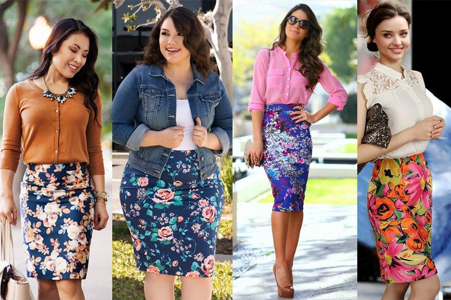 Kwiecista spódnica ołówkowa stylizacje (fot. od lewej: uteandlittle.com; kiyonna.com; fulchic.com; trend2wear.com)