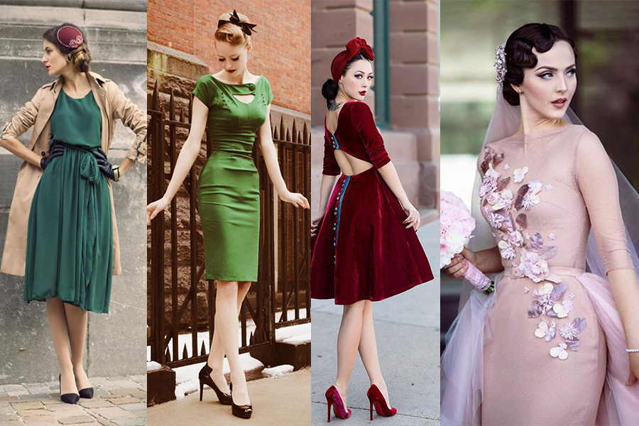 Sukienki retro - stylizacje (fot. pinterest.com, od lewej: from-brussels-with-love.blogspot.com, lolobu.com, s-media-cache-ak0.pinimg.com, vk.com)