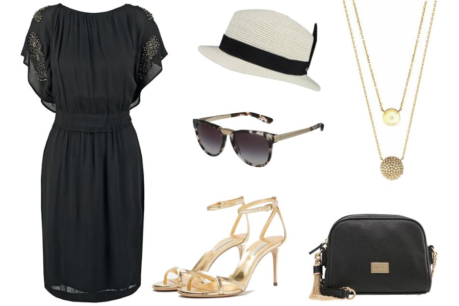 złote sandałki stylizacje sukienka