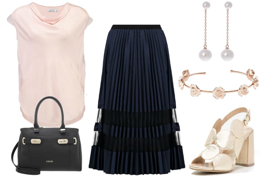 złote sandałki stylizacje spódnica