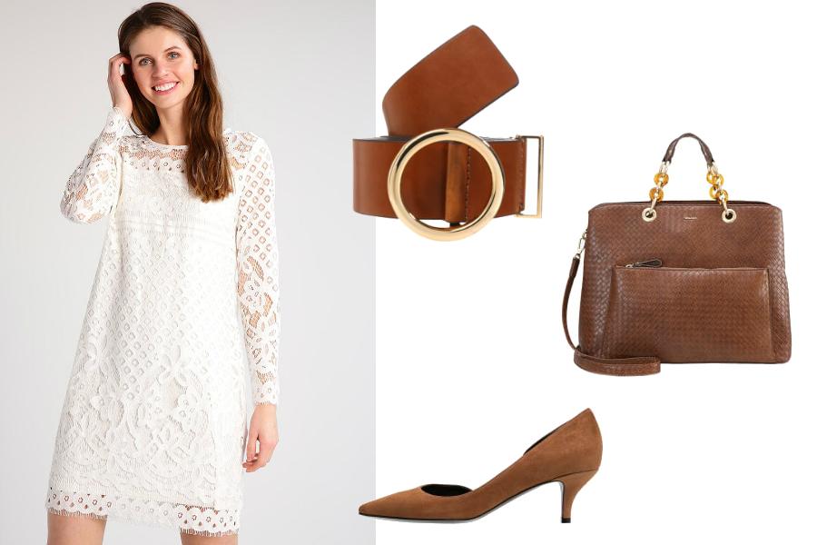 biała sukienka jakie dodatki brązowe