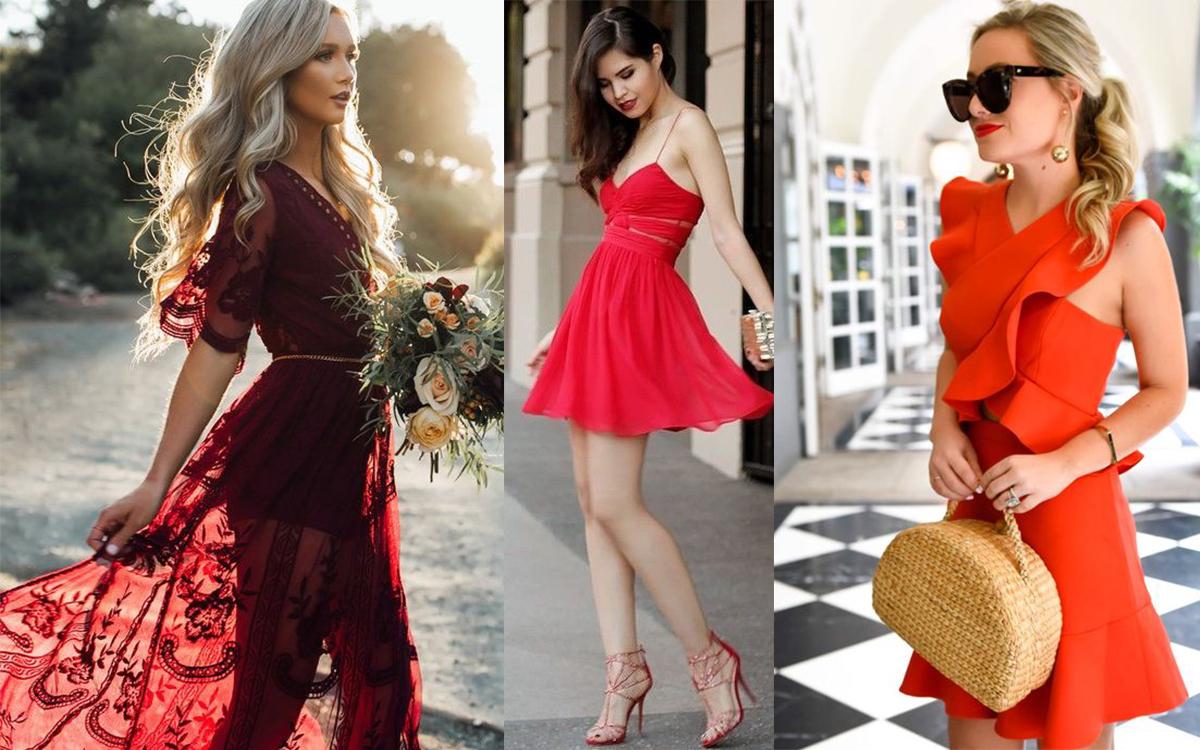 Czerwona sukienka stylizacje (fot. pinterest: blog.styleestate.com, Luvv It, Murphy's Law)