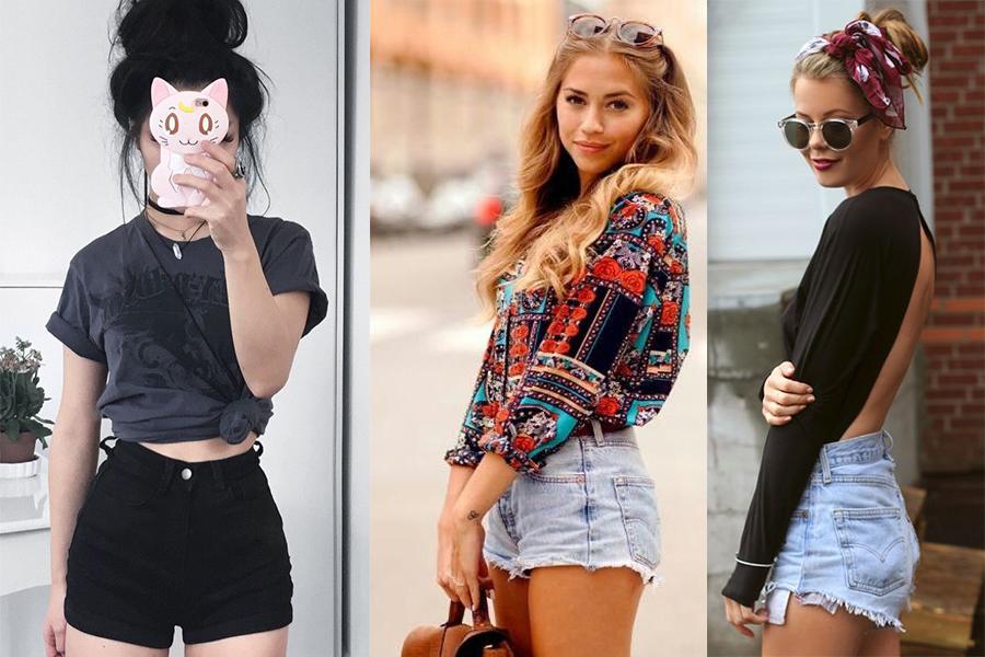 Jeansowe spodenki z wysokim stanem (fot. pinterest, od lewej: AWW Outfit, Monica Siraze, taofeminino)