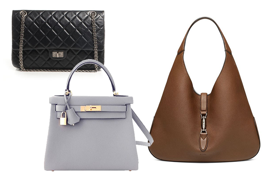 Markowe torebki od lewej: Chanel 2.55, Hermes Kelly, Gucci Jackie (fot. pinterest.com/polyvore.com, World's Best, Town & Country Magazine)