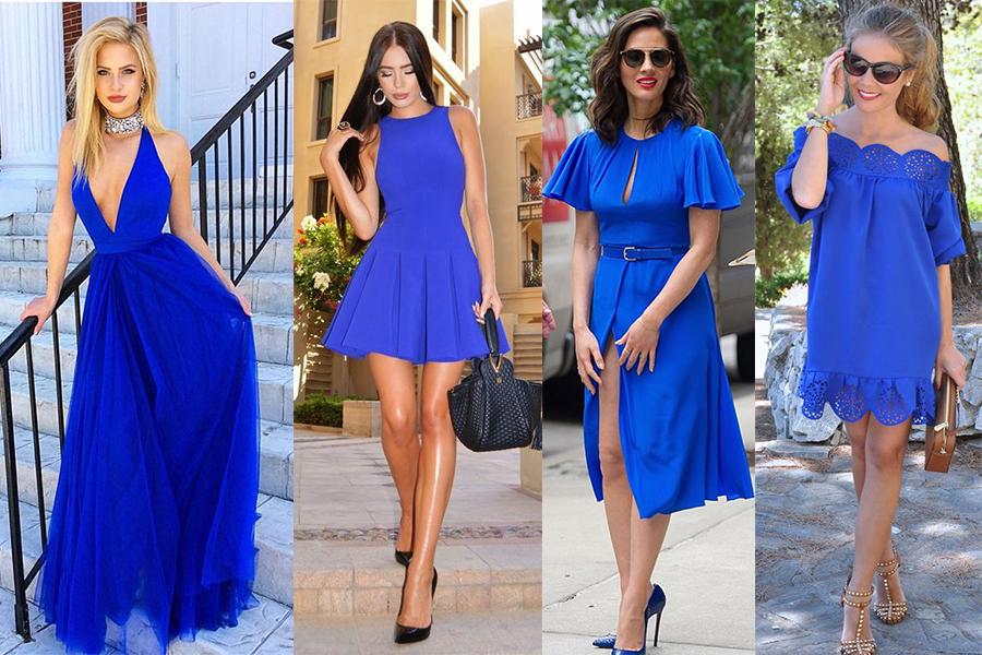 Chabrowa sukienka: stylizacje Pinterest (kolaż redakcja, fot. luulla.com, Fashion Style Mag, outfitidentifier.com, Abaday)