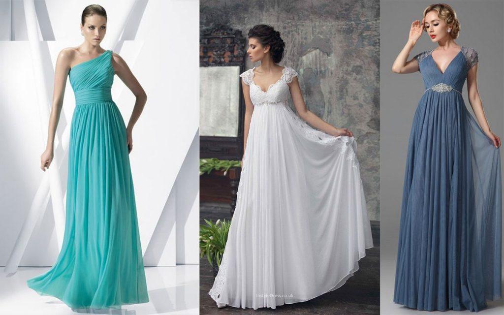 Sukienki wieczorowe odcinane pod biustem (kolaż redakcja, fot. instyledress.co.uk, Casamentos.com.br, eDressit)