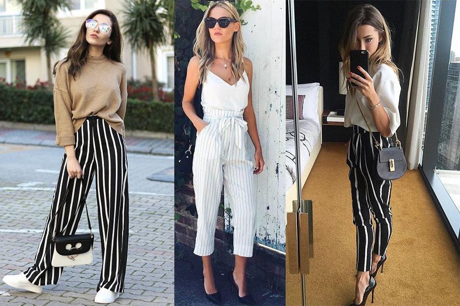 Spodnie w czarno białe paski (kolaż redakcja, fot. Sheln, i.pinimg.com, outfitshunter.com)