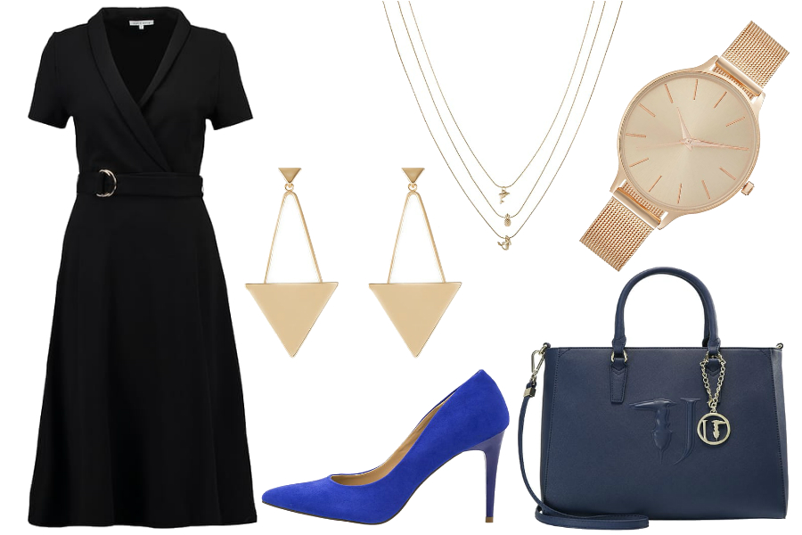 stylizacja do pracy czarna sukienka