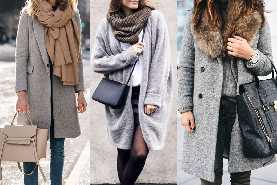 Szary płaszcz zimowy - stylizacje (kolaż redakcja, fot. pinterest.com: twitter.com, autor NN, crystalinmarie.com, autor NN, wachabuy.com, autor NN)