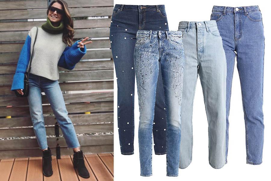 Modne jeansy (kolaż redakcja, materiały Zalando, fot. instagram.com/annalewandowskahpba)