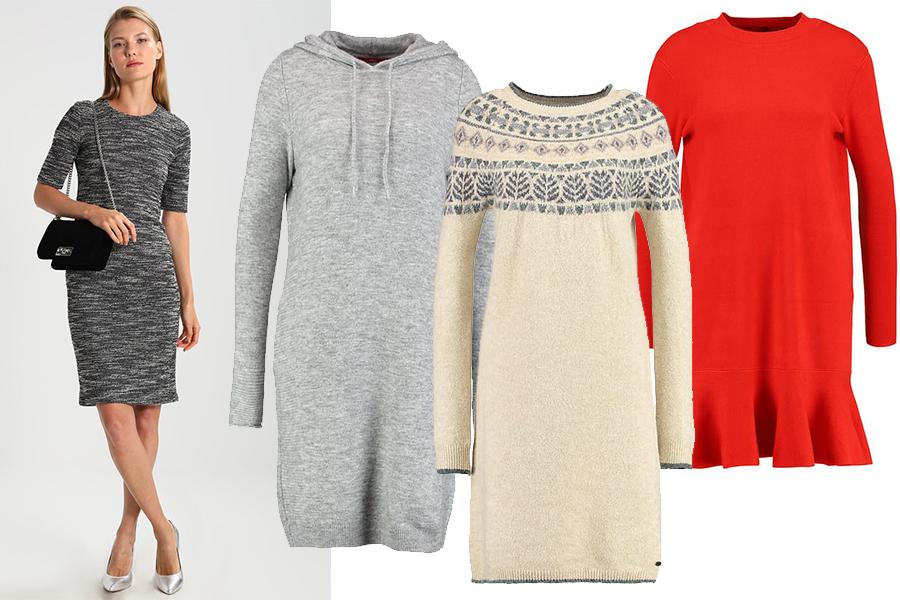 Sukienki dzianinowe na zimę (kolaż redakcja, fot. zalando)