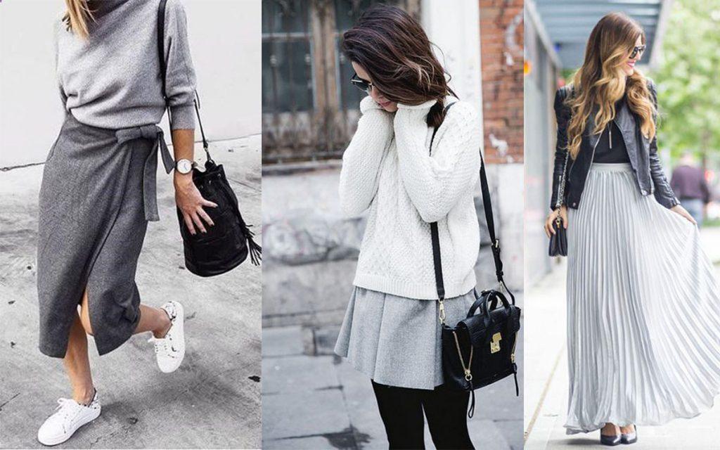 Szara spódnica stylizacje (kolaż redakcja, fot. fashionglamtrends.com, us.shein.com, collagevintage.com)