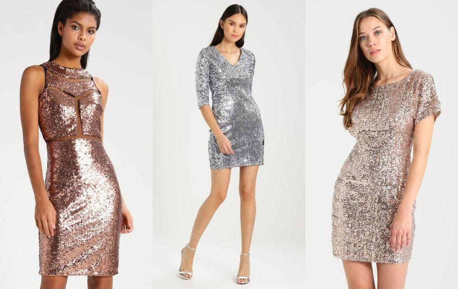 cekinowa sukienka srebro i złoto