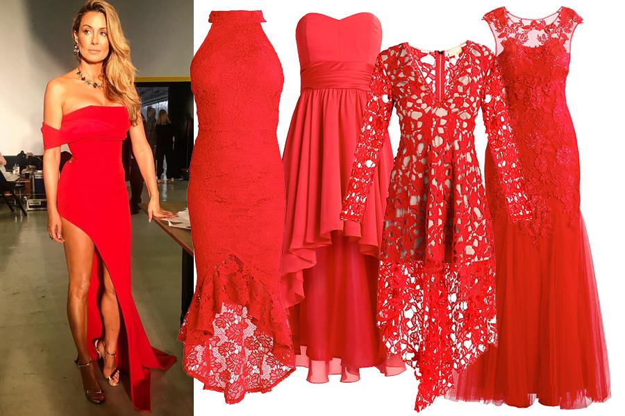 Czerwona sukienka sylwestrowa (kolaż redakcja, materiały partnera, fot. instagram.com/m_rozenek)