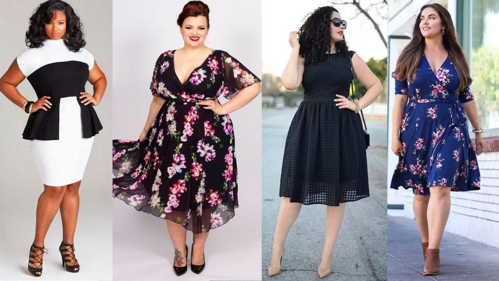 Sukienka dla puszystej - stylizacje (kolaż redakcja, materiały partnerów, fot. od lewej: media-cache-ec0.pinimg.com, Alexa Webb, thefashionspot.com,shareasale.com)