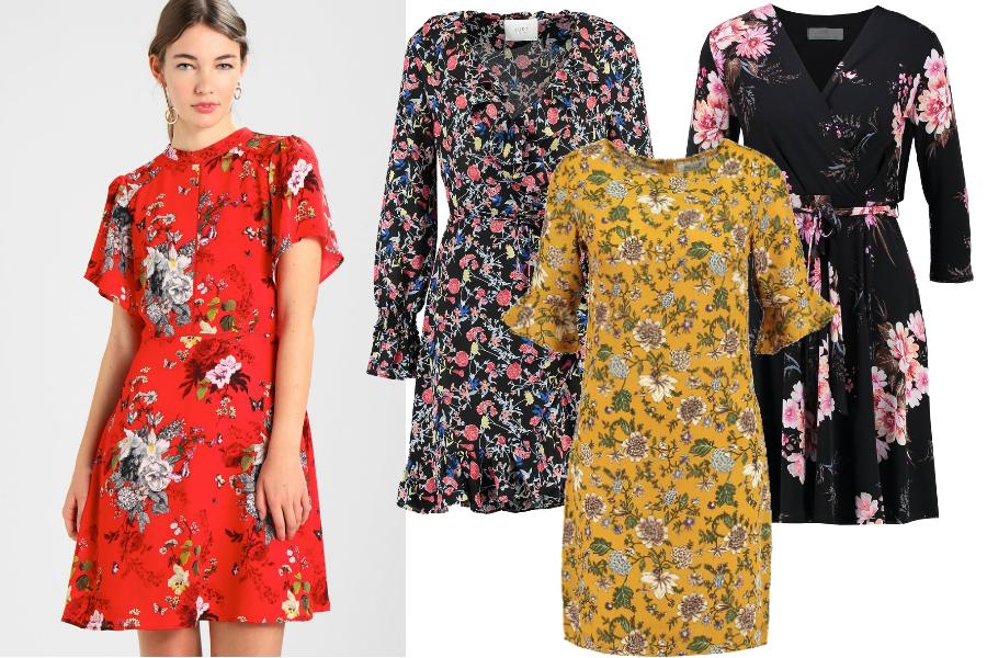 wiosenne sukienki 2018 kwiaty