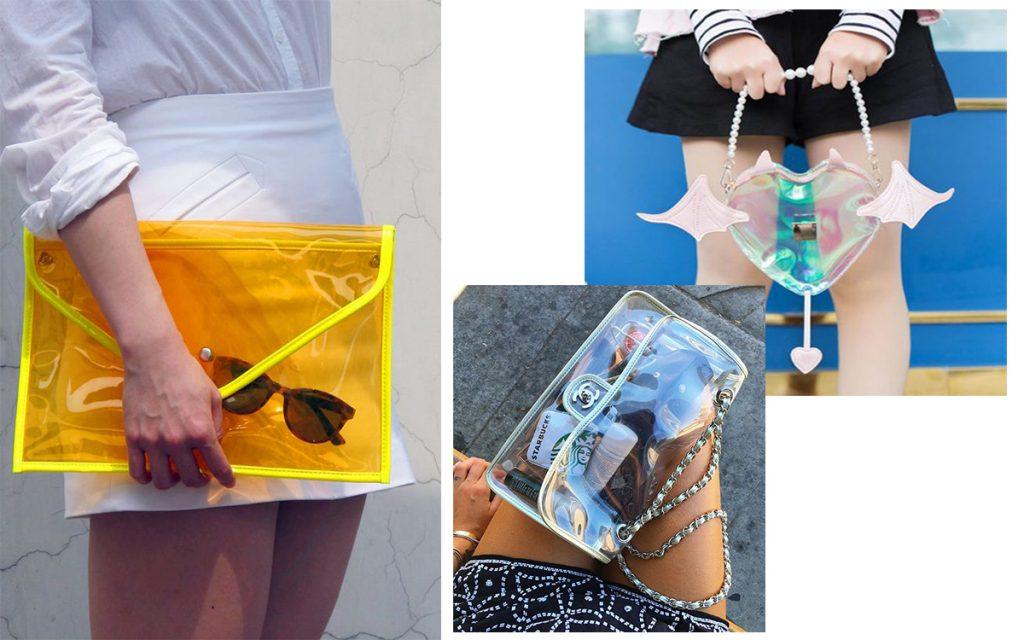 Przezroczysta torebka: jak nosić (kolaż redakcja, instagram.com/chiaraferragni, sanrense.com, etsy.com)