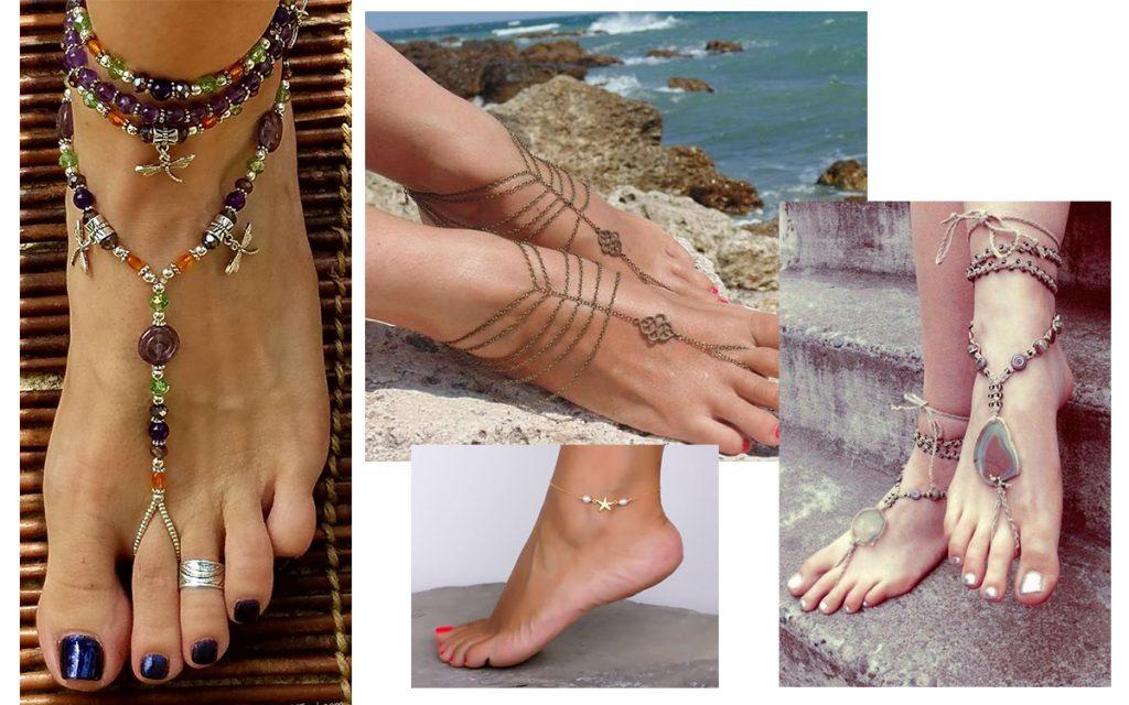 Bransoletka na nogę - hit letnich stylizacji! (kolaż redakcja, fot. pinterest: Olizz, Lee Ann, Jewelery Box)